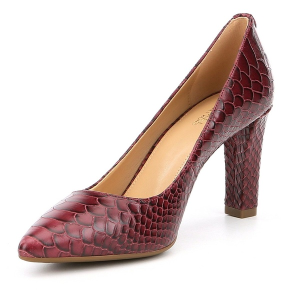 e70fdbbceeb0 Michael Kors Abbi Snake Embossed Leather Heels NEW